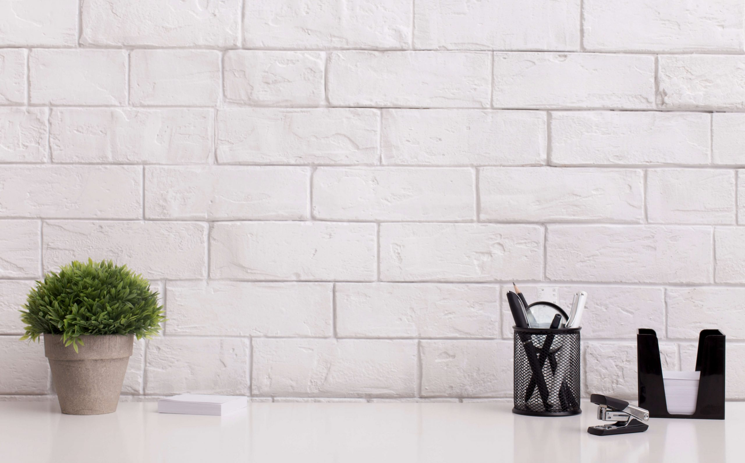 brick wall with plant and office supplies